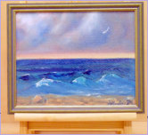 "Gull Over Wave Swept Beach_Oil impression of storm passed_Image = 300 x 232 mm (11.8 x 9.1 inches) approx. displayed on 9"" easel"