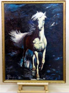 The White Horse _ Oil painting mostly by pallet knife and chisel brush on primed hardboard, using only primary colours and white. No black was used_Image = 560 x 730 mm (22 x 29 inches) approx