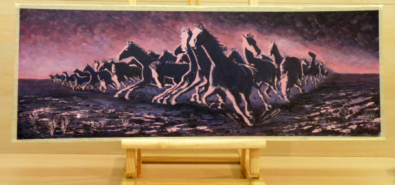Stampede in pink sunset _ painted in oils on a primed sheet of plywood.distortion in perspective was used to convey the animals' heightened herdic sense of panic_Image = 790 x 290 mm (31 x 12 inches) app