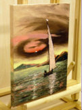 "Sailing in Sunset_ oil on canvas using limite pallette_image=230 x 300 mm (9""x 12"") approx"