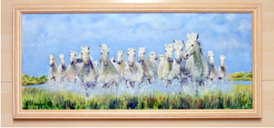 "Impression of Camargue horses_ painted in oils on primed hardboard. Image = 760 x 330mm ( 30 x 13"") approx"