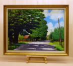 Oil on primed hardboard. 1980s view as one approached Doddington Hall,  accessed on the left before the church. Image = 820 x 595 mm (23.2 x 17.3 inches) approx.