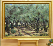 Oil on primed hardboard is of an olive grove in the Alykes disrict on the island of Zante or Zakinthos to give it is full Greek name.  Image =610m x455mm (24 X 18 inches) approx