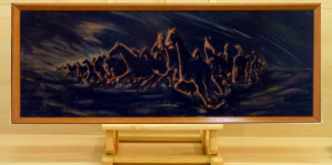 Oil on primed plywood. Distortion in perspective was used to convey the animals' heightened herdic sense of panic. It is modestly framed with profiled timber_Image = 790 x 290 mm (31 x 12 inches) approx.