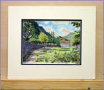 Water colour of scene nr Aira Force water fall tourist centre.  Image = 209 x 140 mm (8.2 x 5.5 inches) approx. ""