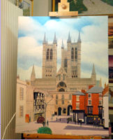 "Ongoing work in oil on canvas of Bailgate view of the Cathedral as seen from the castle east gate wal.  Image=7+C3801 x 901 mm (28""x 35.75"") approx"