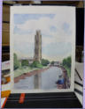 Water colour view of Lincolnshire port's St Botolph's Church famous for its extraordinarily tall tower,known as the Stump.  Image = 190 x 260 mm (17.5 x 10.2 inches) approx