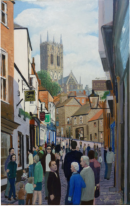 "Oil on canvas_view of historical route to Lincoln Cathedral. Note Goodies Sweet shop on the left. Painting bought by the Proprieter. Image = 500 x 760 mm (19.7 x 69"") approx"
