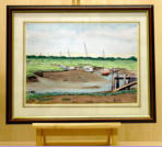 This is one of a series of water colour paintings the asrtist has done of boats at rest in the tidal river at Lincolnshire's popular nature reserve, close to Skegness.  Image = 372 x 275 mm (14.65 x 10.8 in