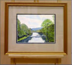 Water colour of a view as seen from a bridge over the River Esk on route from Penrith to Galashiels. Image = 242 x 150 mm (9.7 x 6 inches) approx..