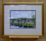 A water colour scene sketched from the old Stirling Bridge over the River Forth. The monument,seen in the distance, stands close to Stirling university. Image = 298 x 212 mm (11.9 x 8.48 inches) approx