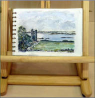 Oranmore Castle _ water colour of scene from southern coast of Galway Bay, Ireland_ Image = 158 x 115 mm (6.22 x 4.53 inches) approx.