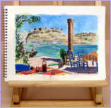 A water colour pencil sketch of a taverna on the island of Rhodes. Image = 306 x 226 mm (12.05 x 8.9 inches) approx.