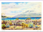 Water colours showing morning view. This was done when the artist was surpised to see the island appear out of a heat haze that hidden it the night before.  Image = 260 x 170 mm (10.4 x 6.8 inches) approx.