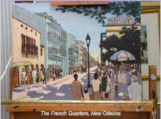 "0il on canvas based on sketch done whilst visiting the city's French Quarter.  Image= 460 x 300mm (18"" x 12"") approx."